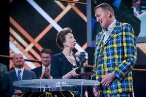 Princess Anne presents Scottish rugby legend Doddie Weir with the Helen Rollason Award at BBC Sports Personality Of The Year 2019 (Picture: Kieron McCarron)