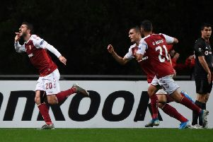Sporting Braga's Portuguese forward Paulinho (L) celebrates after scoring a goal during the UEFA Europa League Group K football match between Sporting Braga and Besiktas, at the Municipal stadium of Braga, on November 7, 2019. (Photo by MIGUEL RIOPA / AFP) (Photo by MIGUEL RIOPA/AFP via Getty Images)