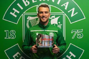 Christian Doidge shows off the Player of the Month award. Picture: SNS Group