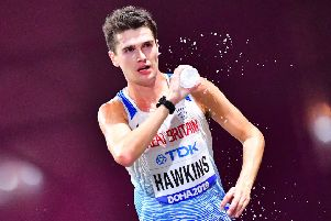 Callum Hawkins on his way to fourth place in the marathon at the World Championships in Doha. Picture: Guiseppe Cacace/AFP/Getty