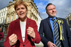SNP MP Alyn Smith campaigning with First Minister Nicola Sturgeon