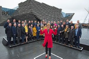 Nicola Sturgeon at a photocall with victorious MPs at Dundee's V&A. Picture: Neil Hanna
