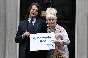Prominent Alzheimer's sufferer Barbara Windsor and husband Scott Mitchell deliver a petition to No 10 Downing St. Picture: Tolga Akmen/Getty