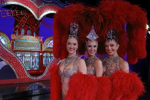 Lucy Monaghan (28), Sarah Tandy (37) and Michaela Rondelli (26), three Scottish dancers at the Moulin Rouge in Paris.