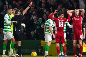 Sam Cosgrove was sent off against Celtic but appealed the red card. Picture: SNS
