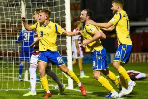 Ali McCann celebrates after netting St Johnstone's winner. Picture: SNS