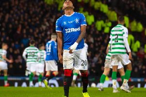 A frustrated Alfredo Morelos after missing a penalty in the Betfred Cup final. Picture: SNS