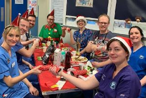 Dinner is served for hard-working A&E staff at Christmas.