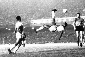 The young Kevan Christie's footballing skills saw him share the nickname given to Edson Arantes do Nascimento, seen performing an overhead kick in 1968, in the playground ' Pel� (Picture: AP)