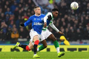 Rangers' Ryan Kent and Celtic's Jeremie Frimpong will renew rivalries at Celtic Park after their Betfred Cup final joust. Picture: Craig Foy / SNS