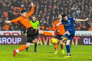 Graham Dorrans fires home Dundee's equalising goal five minutes into the second half. Picture: Rob Casey/SNS