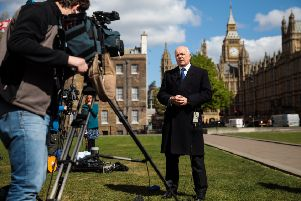Iain Duncan Smith talks to the media on College Green outside the Houses of Parliament. Picture: Jack Taylor/Getty