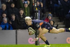 Darcy Graham scores a try for Edinburgh. Picture: Ross Parker / SNS Group / SRU
