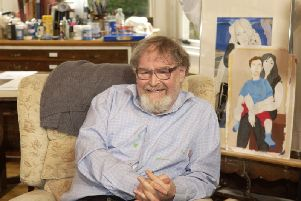 Writer and Artist Alasdair Gray in his Glasgow flat in 2011. Picture: John Devlin