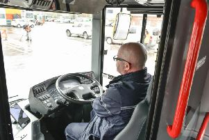 The autonomous bus, being trialled in a depot in Manchester