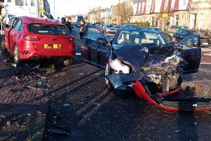 The two cars involved in the collision