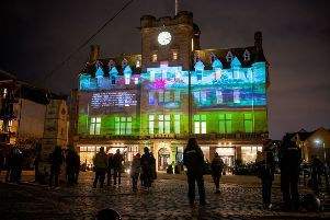 """""""The Sea"""" by Irvine Welsh, projected onto the Malmaison Hotel in Leith as part of Message From The Skies"""