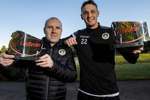 Edinburgh City manager James McDonaugh, left, and defender Liam Henderson receive their Ladbrokes League 2 Manager and Player of the Month awards for December. Picture: Craig Williamson/SNS