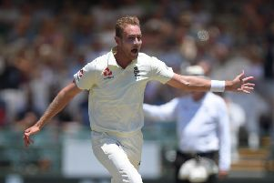 CAPE TOWN, SOUTH AFRICA - JANUARY 04: England bowler Stuart Broad celebrates after taking the wicket of Rassie van der Dussen only to have it overturned for a no ball during Day Two of the Second Test between  South Africa and England at Newlands on January 04, 2020 in Cape Town, South Africa. (Photo by Stu Forster/Getty Images)