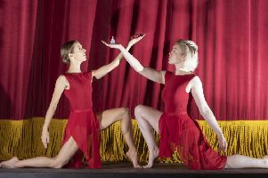 Dancers Sarah Gibson and Kara Hudson promote reusable sanitary products Picture: Mark Gibson