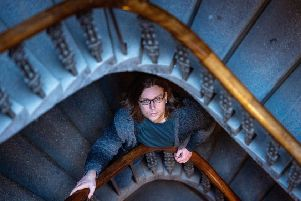 David Cole in the stairwell of his Edinburgh tenement. Picture: Ian Georgeson