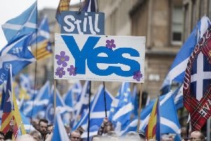 Independence supporters march through Glasgow in 2018. Picture: John Devlin