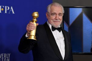Brian Cox poses with his Golden Globe . Picture: Getty