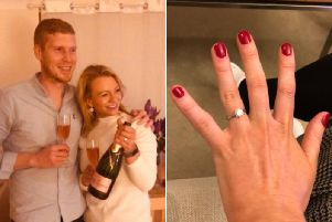 The happy couple have been together for two-and-a-half years and engaged for just under three months