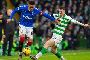 James Tavernier and Callum McGregor in action during Rangers' 2-1 win at Celtic Park. Picture: SNS