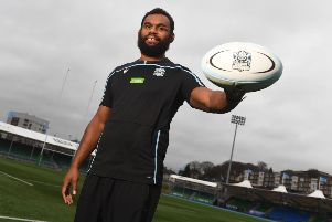 Despite the weather, Leone Nakarawa was  delighted to be back at Scotstoun yesterday following his return to Glasgow Warriors. Picture: SNS/SRU
