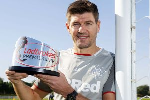Rangers manager Steven Gerrard with his Ladbrokes Premiership Manager of the Month award for December at the club's training camp in Dubai. Picture: Craig Foy/SNS