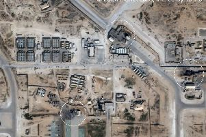 An aerial photograph of Ain al-Asad Airbase after Iran's missile attack with rings showing impact sites. President Trump said no Americans, Iraqis or other allied troops were killed in the raid. Picture: PA