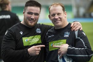 Petrus du Plessis, right, alongside Zander Fagerson during training at Glasgow Warriors. Picture: Mark Scates / SNS