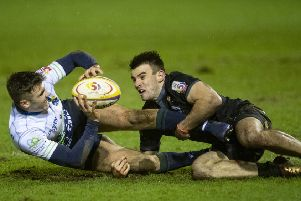Glen Faulds of Boroughmuir Bears is tackled by Joseph Jenkins during their clash with Southern Knights at Meggetland last night. Picture: SNS/SRU.