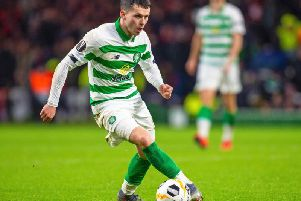 Lewis Morgan in action for Celtic.