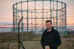 Councillor Cammy Day at the Granton gasometer, which he suggests could be turned into a concert hall.