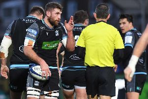 Callum Gibbins was yellow carded by French referee Romain Poite. Picture: SRU/SNS