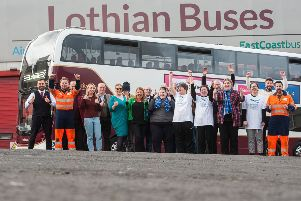 Staff at Lothian Buses voted for Support in Mind as their Charity of Choice. Picture: Wullie Marr Photography