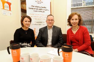 Supporting people to stay in employment is all in a day's work for (l to r): Kerry Laing, Alistair Hynie and Paula Donaldson-Inglis. Pic: Fife Photo Agency
