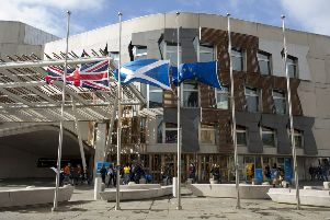 The flag of the EU is at present flown alongside the Union Jack and Saltire outside the Holyrood building. Picture: Ian Rutherford