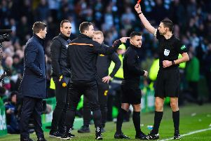 Rangers coach Michael Beale is sent off against Celtic. Picture: SNS