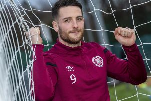 Hearts' Conor Washington ahead of the cup tie against Airdrieonians. Picture: Bill Murray/SNS