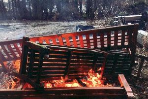Pictures provided to the Evening News which show the benches on fire (Photo: Contributed)