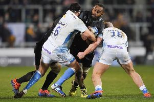 Glasgow Warriors' Leone Nakarawa scored an early try but is tackled here by Sale Sharks' Rob Webber and Jake Cooper-Woolley. Picture: Dave Howarth/PA