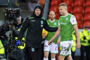 Hibs defender Ryan Porteous leaves the field shortly after the start of the second half  yesterday. Picture: SNS.