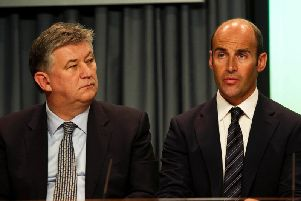 Peter Lawwell (left) and Martin Bain pictured in March 2011, around the time the two clubs were plotting a Scottish exit