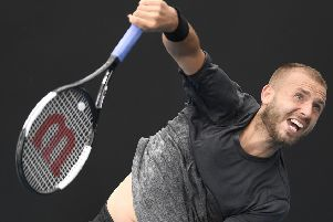 Dan Evans on his way to victory over American  Mackenzie McDonald in Melbourne