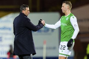 Hibs manager Jack Ross wants Florian Kamberi to continue the form he showed at Tannadice. Picture: SNS.