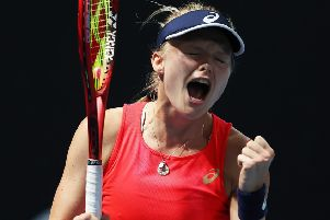Britain's Harriet Dart celebrates beating Misaki Doi of Japan in the women's singles first round. Picture: Clive Brunskill/Getty