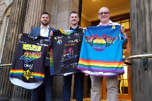 Jersey launch for Elite League's first ever Pride weekend (Pic: Nigel Duncan)